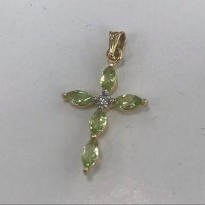 14k yellow gold peridot cross